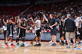 The Minnesota Timberwolves celebrate during the game against the Phoenix Suns during the 2016 NBA Las Vegas Summer League game on July 17 2016 at the...