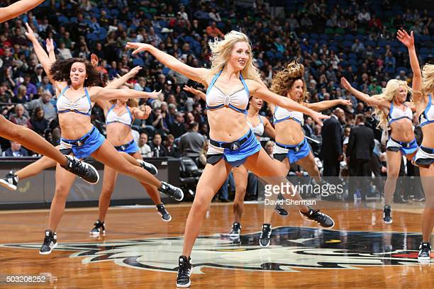 The Minnesota Timberwolves dance team is seen during the game against the Milwaukee Bucks on January 2 2016 at Target Center in Minneapolis Minnesota...