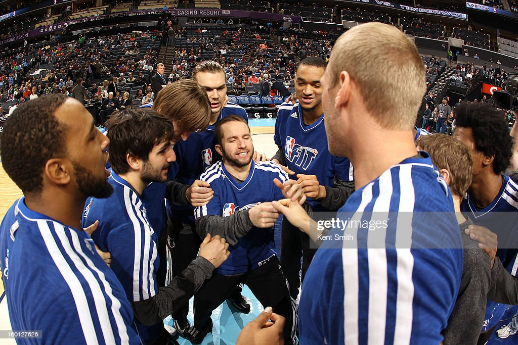 The Minnesota Timberwolves gather before the game against the Charlotte Bobcats at the Time Warner Cable Arena on January 26, 2013 in Charlotte, North Carolina.