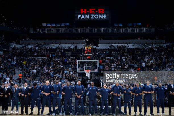 The Minnesota Timberwolves honor the National Anthem before the game against the San Antonio Spurs on October 18 2017 at the ATT Center in San...