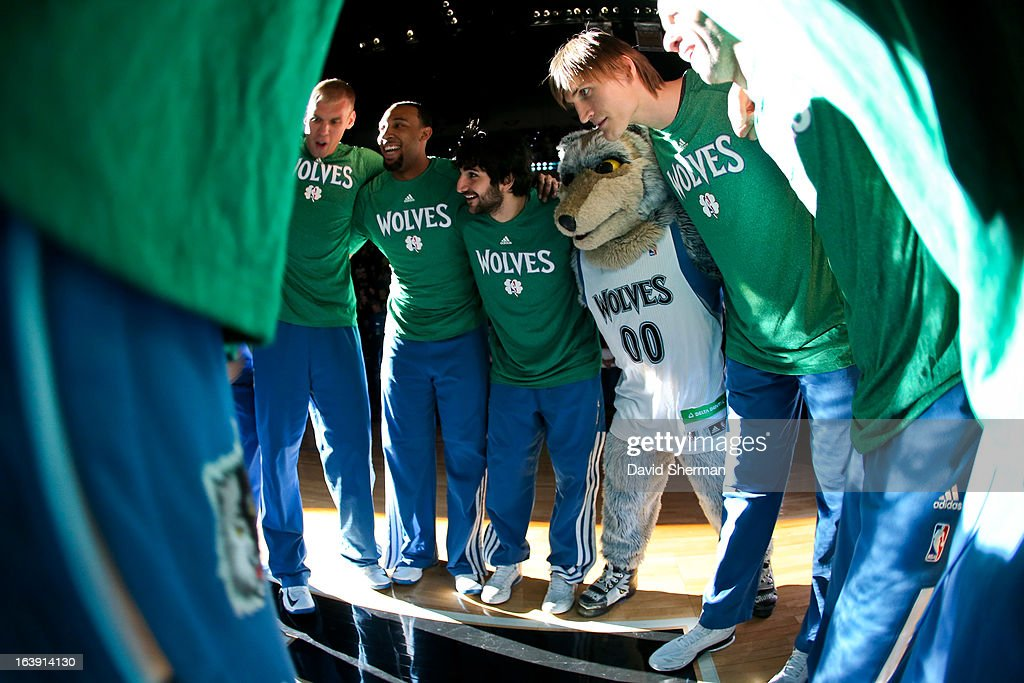 The Minnesota Timberwolves huddle up before playing against the New Orleans Hornets on March 17, 2013 at Target Center in Minneapolis, Minnesota.