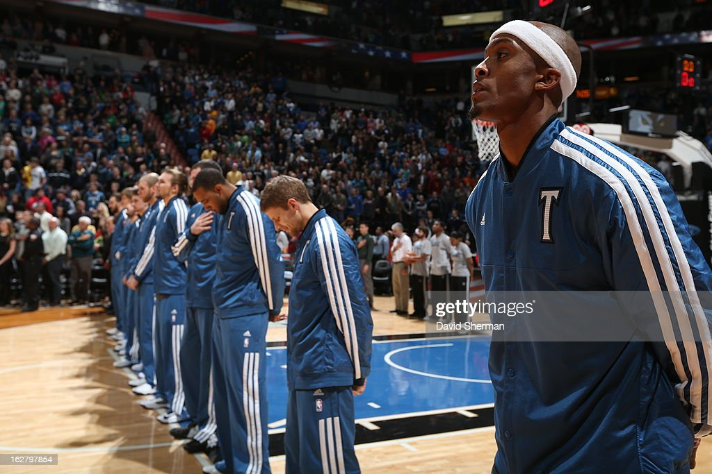 The Minnesota Timberwolves line up before the game against the Houston Rockets on December 26, 2012 at Target Center in Minneapolis, Minnesota.