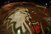 The Minnesota Timberwolves logo is displayed on the court prior to the game against the San Antonio Spurs on February 21 2008 at the Target Center in...