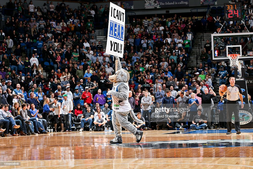 The Minnesota Timberwolves mascot Crunch gets the crowd excited with less than a minute in the fourth quarter of a game against the Indiana Pacers on November 9, 2012 at Target Center in Minneapolis, Minnesota.