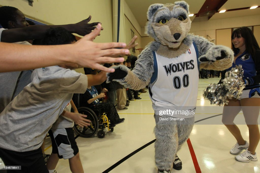The Minnesota Timberwolves mascot Crunch performs at the dedication of a refurbished basketball court during NBA Canada Series 2012 on October 23, 2012 at the Magnus Eliason Recreation Centre in Winnipeg, Manitoba, Canada.
