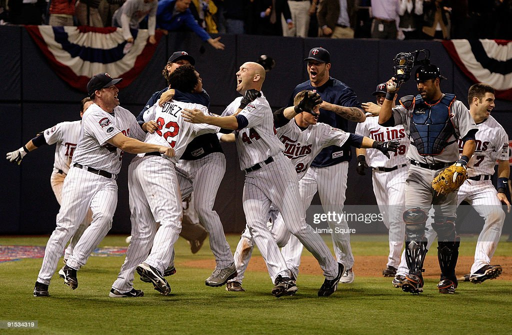 The Minnesota Twins celebrate after defeating the Detroit Tigers during the American League Tiebreaker game on October 6, 2009 at Hubert H. Humphrey Metrodome in Minneapolis, Minnesota.