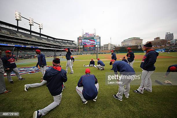 The Minnesota Twins warm up prior to the Opening Day game against the Detroit Tigers at Comerica Park on April 6 2015 in Detroit Michigan