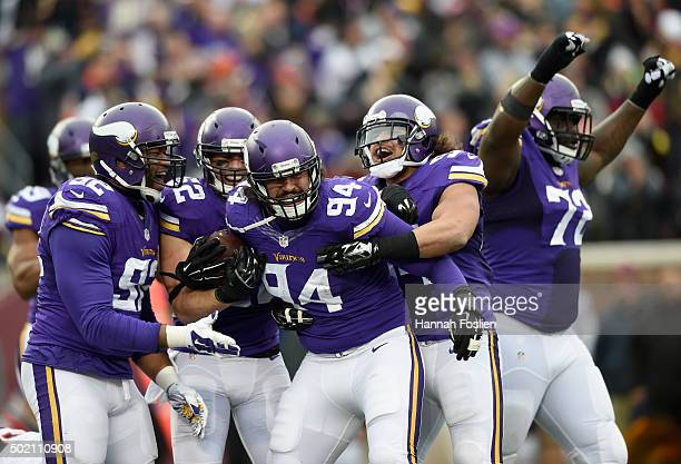 The Minnesota Vikings celebrate an interception against the Chicago Bears by Justin Trattou during the fourth quarter of the game on December 20 2015...