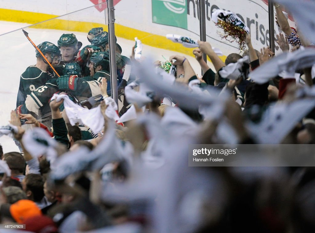 The Minnesota Wild celebrate a goal against the Colorado Avalanche by Zach Parise #11 during the third period in Game Six of the First Round of the 2014 NHL Stanley Cup Playoffs on April 28, 2014 at Xcel Energy Center in St Paul, Minnesota. The Wild defeated the Avalanche 5-2.