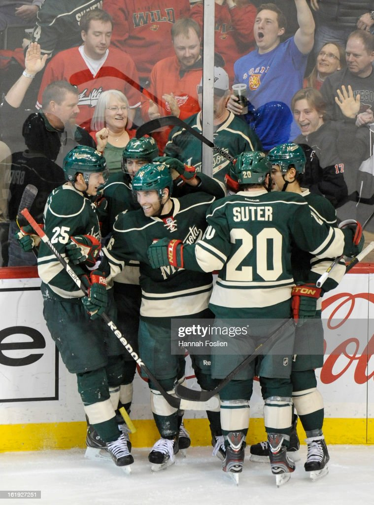 The Minnesota Wild celebrate a goal by Jason Zucker #16 of the Minnesota Wild during the second period of the game against the Detroit Red Wings on February 17, 2013 at Xcel Energy Center in St Paul, Minnesota.
