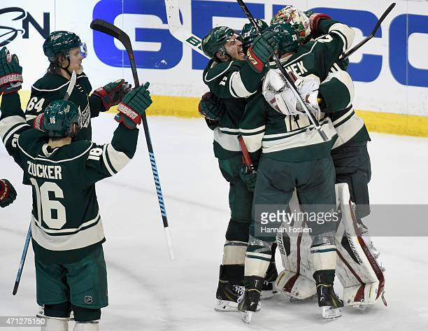 The Minnesota Wild celebrate a win against the St Louis Blues after Game Six of the Western Conference Quarterfinals during the 2015 NHL Stanley Cup...