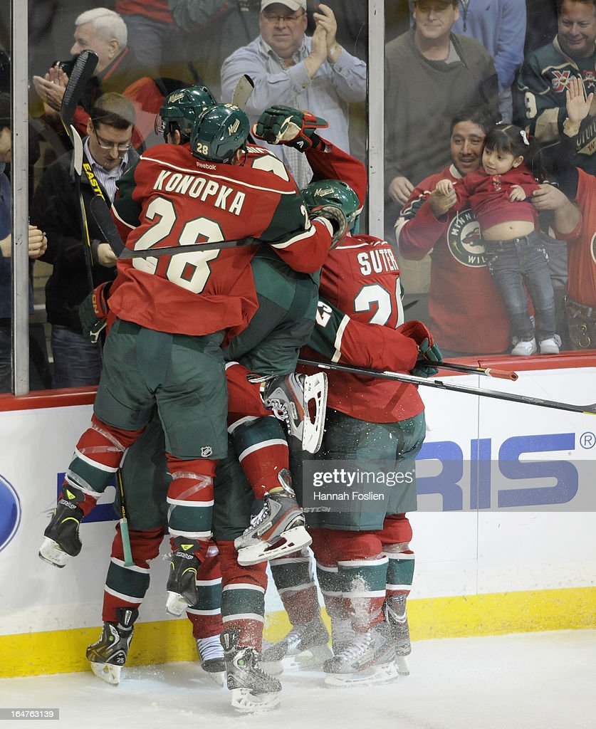 The Minnesota Wild celebrate a win in overtime of the game against the Phoenix Coyotes on March 27, 2013 at Xcel Energy Center in St Paul, Minnesota. The Wild defeated the Coyotes 4-3 in overtime.