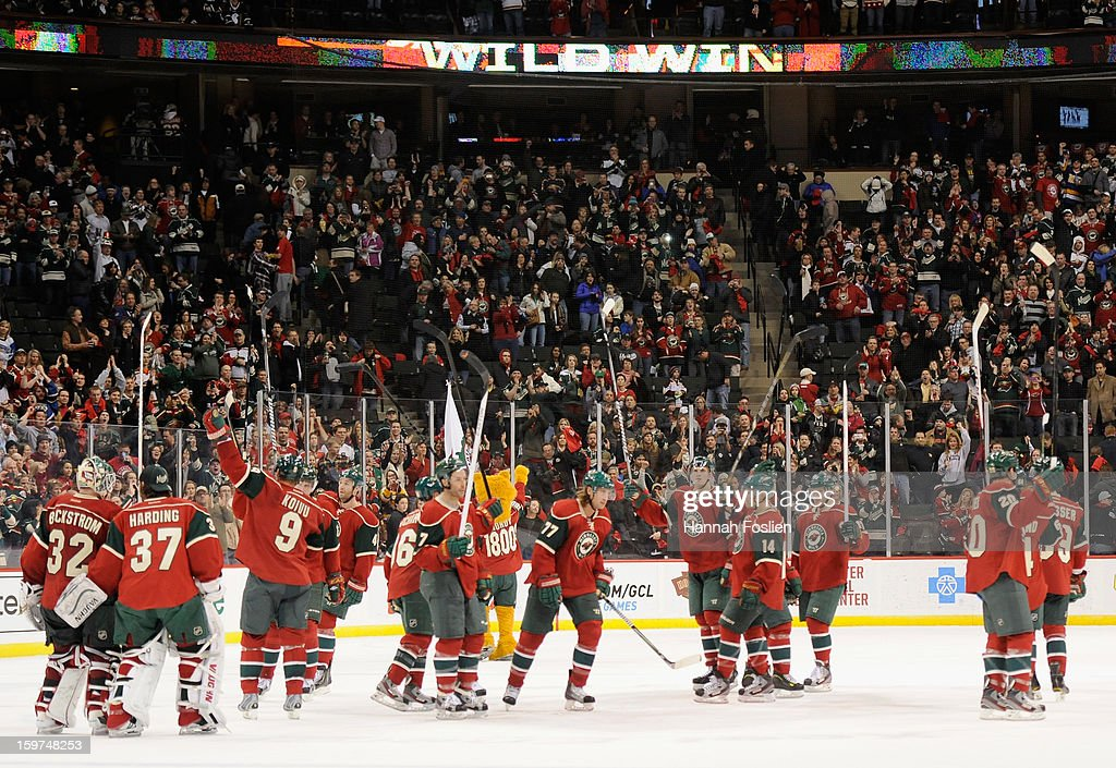 The Minnesota Wild celebrate a win in the season opener against the Colorado Avalanche on January 19, 2013 at Xcel Energy Center in St. Paul, Minnesota. The Wild defeated the Avalanche 4-2.