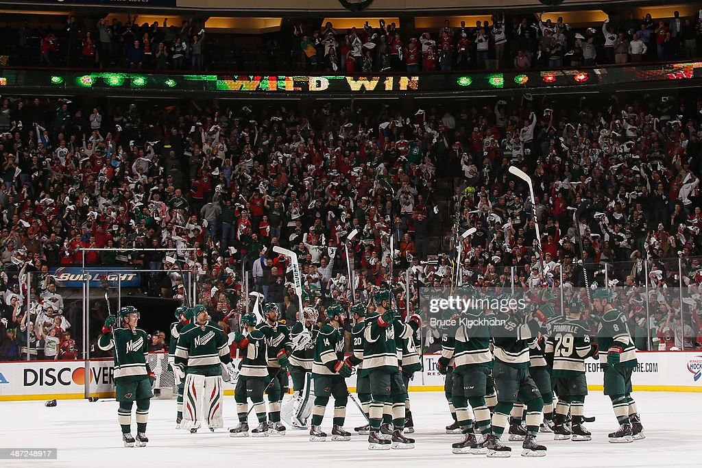 The Minnesota Wild celebrate after defeating the Colorado Avalanche in Game Six of the First Round of the 2014 Stanley Cup Playoffs on April 28, 2014 at the Xcel Energy Center in St. Paul, Minnesota.