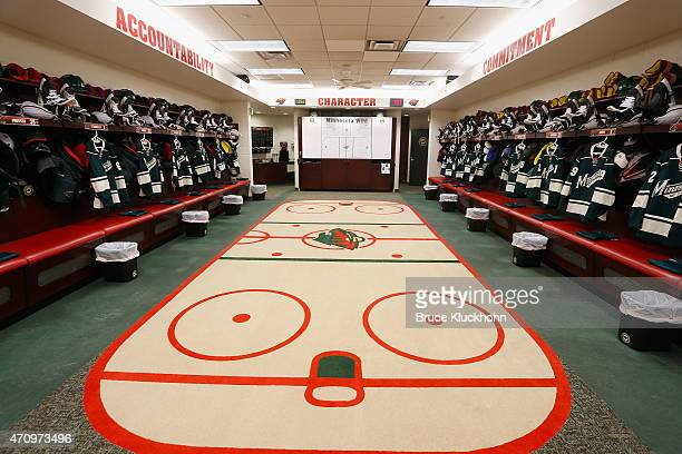 The Minnesota Wild locker room prior to Game Three of the Western Conference Quarterfinals during the 2015 NHL Stanley Cup Playoffs against the St...