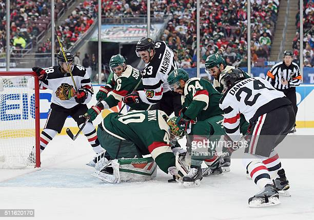 The Minnesota Wild play against the Chicago Blackhawks during the second period at the TCF Bank Stadium during the 2016 Coors Light Stadium Series...