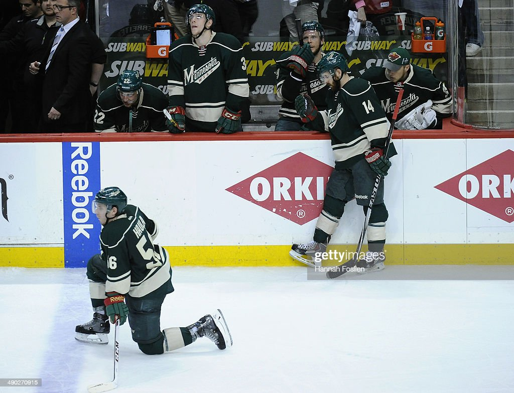 The Minnesota Wild react to a loss of Game Six of the Second Round of the 2014 NHL Stanley Cup Playoffs against the Chicago Blackhawks on May 13, 2014 at Xcel Energy Center in St Paul, Minnesota. The Blackhawks defeated the Wild 2-1 in overtime.