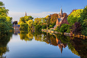 The Minnewater (or Lake of Love), a fairytale scene in historic Bruges