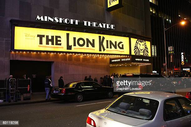The Minskoff theatre advertises 'The Lion King' on west 44th street between Broadway and Eighth avenue prior to the dimming of their marquee lights...