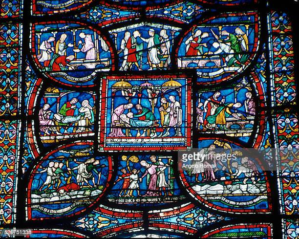 The Miracle Window a stained glass panel depicting the story of Rodbertulus of Rochester Canterbury Cathedral