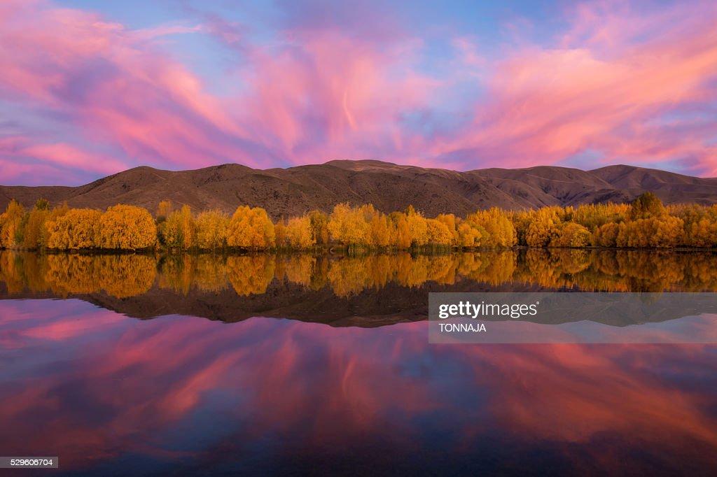 The mirror lake in autumn season, South Island, New Zealand