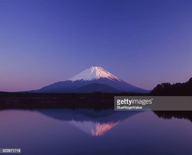 The mirroring Mt.Fuji on the Lake Shoji in the win
