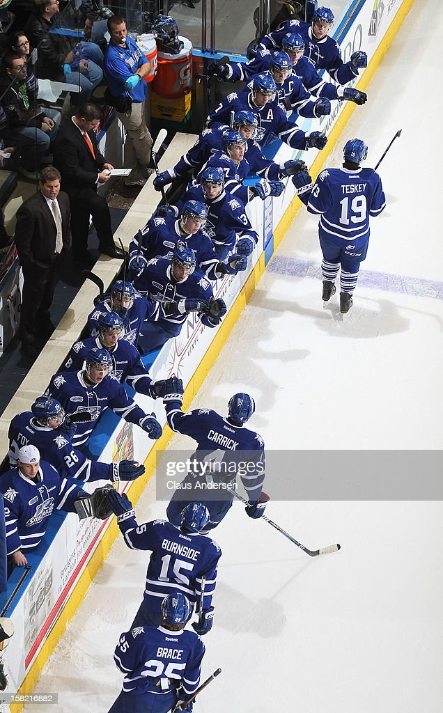 The Mississauga Steelheads celebrate a goal in an OHL game against the London Knights on December 9, 2012 at the Budweiser Gardens in London, Ontario, Canada. The Knights defeated the Steelheads 5-2 and tied their franchise record of 18 straight wins.