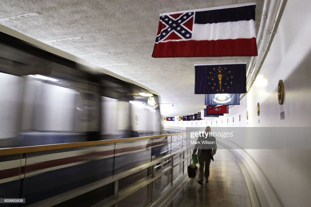 The Mississippi flag flies inside of the Senate Subway at the US Capitol August 17, 2017 in Washington, DC. House Minority Leader Nancy Pelosi (D-CA) has called for the removal of all Confederate statues from the United States Capitol.