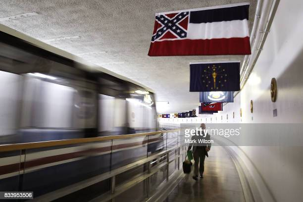 The Mississippi flag flies inside of the Senate Subway at the US Capitol August 17 2017 in Washington DC House Minority Leader Nancy Pelosi has...