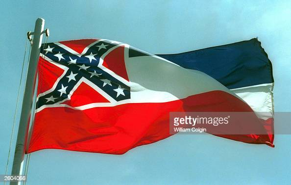 The Mississippi State flags flies April 17 2001 in Pascagoula MS Voters will decide whether to replace the state's old flag which sports the...