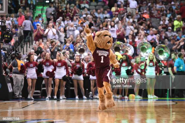 The Mississippi State Lady Bulldogs Mascot runs onto the court during 2017 Women's Final Four at American Airlines Center on April 2 2017 in Dallas...