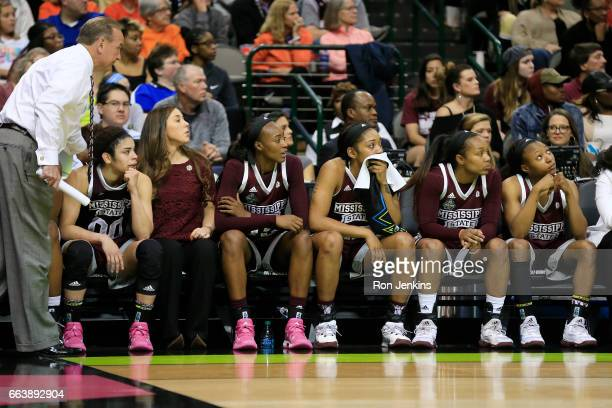 The Mississippi State Lady Bulldogs react late in the game in their teams loss to the South Carolina Gamecocks in the championship game of the 2017...