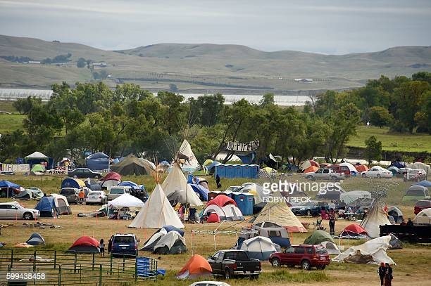 The Missouri River is seen beyond an encampment September 4 2016 near Cannon Ball North Dakota where hundreds of people have gathered to join the...