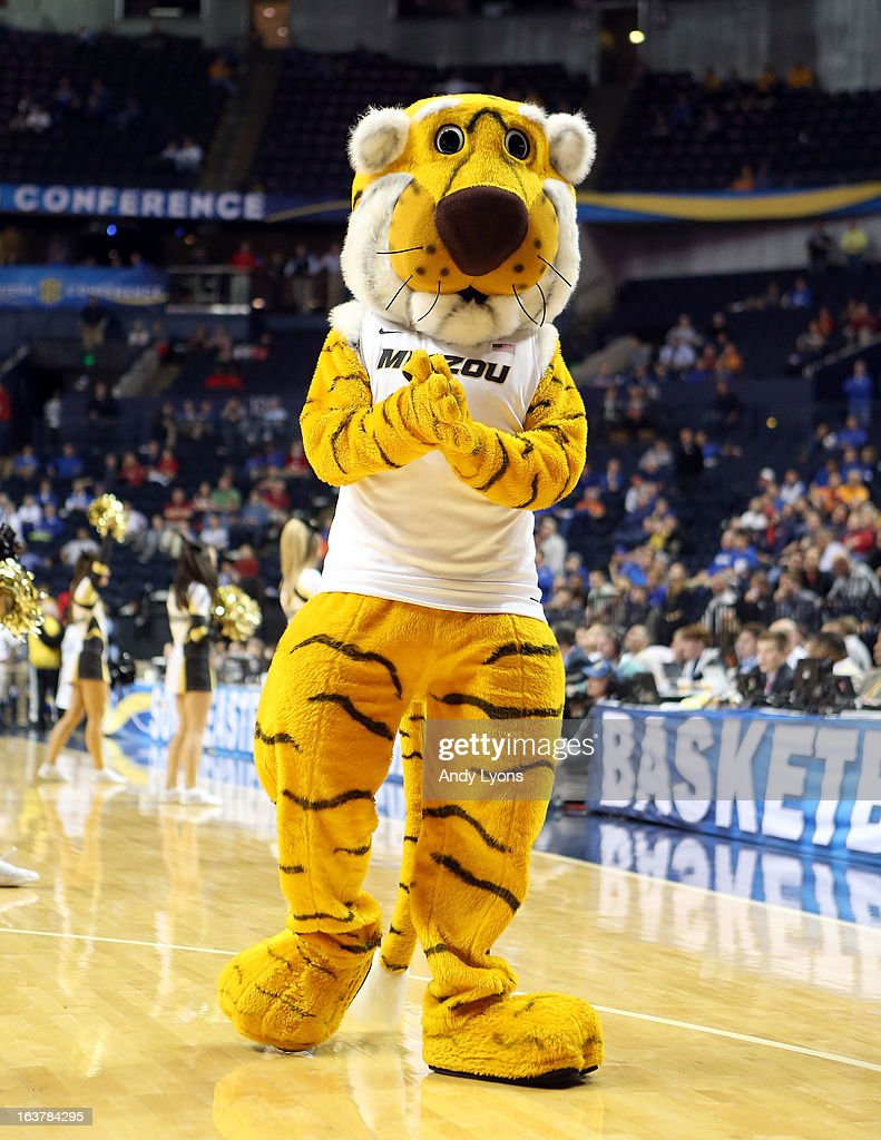 The Missouri Tigers mascot performs during the game against the Ole Miss Rebels during the quarterfinals of the SEC Baketball Tournament at Bridgestone Arena on March 15, 2013 in Nashville, Tennessee.