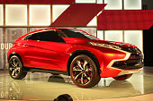 The Mitsubishi angular plugin hybrid crossover XRPHEV is introduced at the 2014 Los Angeles Auto Show on November 20 2014 in Los Angeles California...