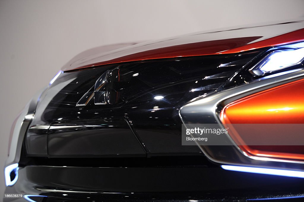 The Mitsubishi Motors Corp logo is displayed on the hood of the company's Concept XRPHEV vehicle as it stands on display at an unveiling in Tokyo...