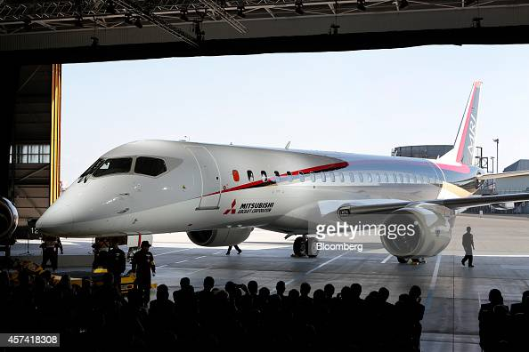 The Mitsubishi Regional Jet passenger aircraft developed by Mitsubishi Aircraft Corp is unveiled during a rollout ceremony at Mitsubishi Heavy...
