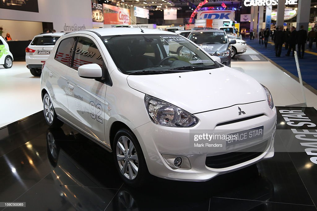 The Mitsubishi Space Star is displayed at the 91st edition of the European Motor Show at Brussels Expo on January 10, 2013 in Brussels, Belgium.