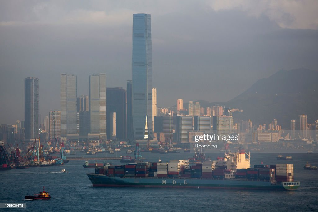 The Mitsui O.S.K Lines (MOL) 'MOL Dominance' container ship sails through Victoria Harbour in Hong Kong, China, on Monday, Jan. 21, 2013. Hong Kong is scheduled to release export figures for December on Jan. 24. Photographer: Jerome Favre/Bloomberg via Getty Images