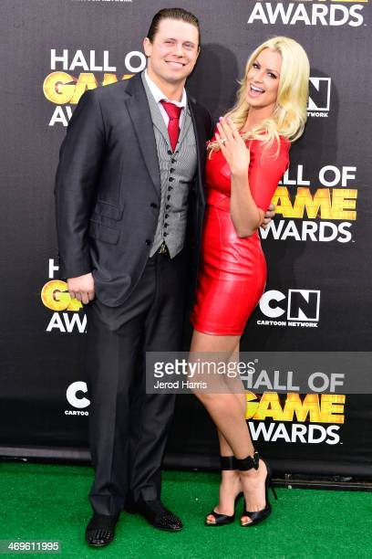 The Miz and fiance Maryse Ouellet arrive at the 4th Annual Cartoon Network Hall Of Game Awards at Barker Hangar on February 15 2014 in Santa Monica...