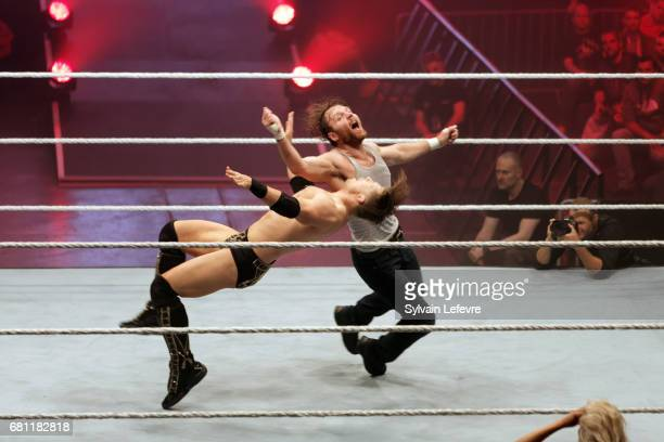The Miz fights against Dean Ambrose during WWE Live 2017 at Zenith Arena on May 9 2017 in Lille France