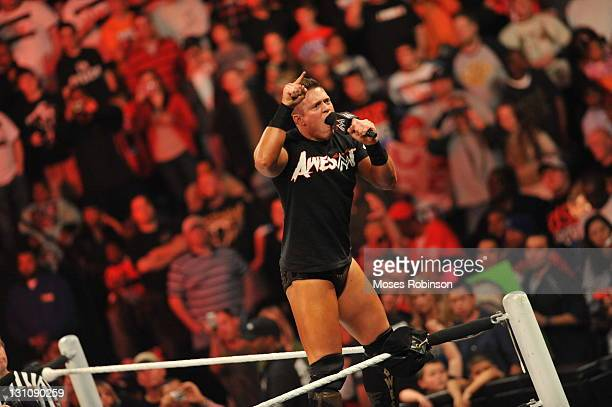 The Miz stands on the ropes during the WWE Monday Night Raw Supershow Halloween event at the Philips Arena on October 31 2011 in Atlanta Georgia