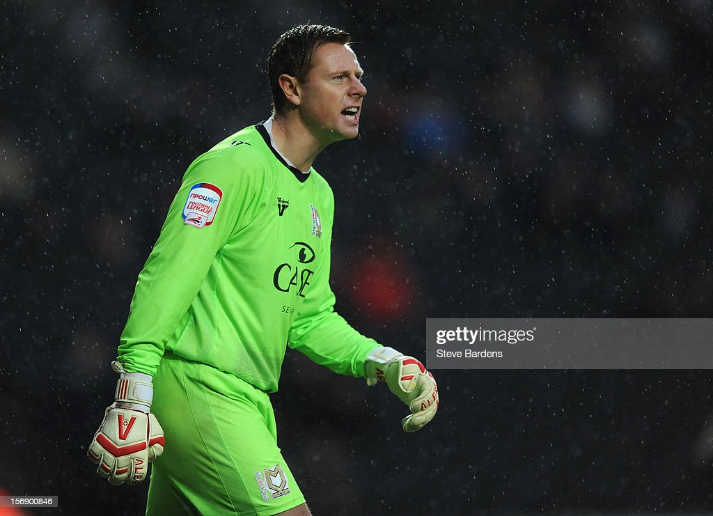The MK Dons goalkeeper David Martin during the npower League One match between MK Dons and Colchester United at Stadium MK on November 24, 2012 in Milton Keynes, England.