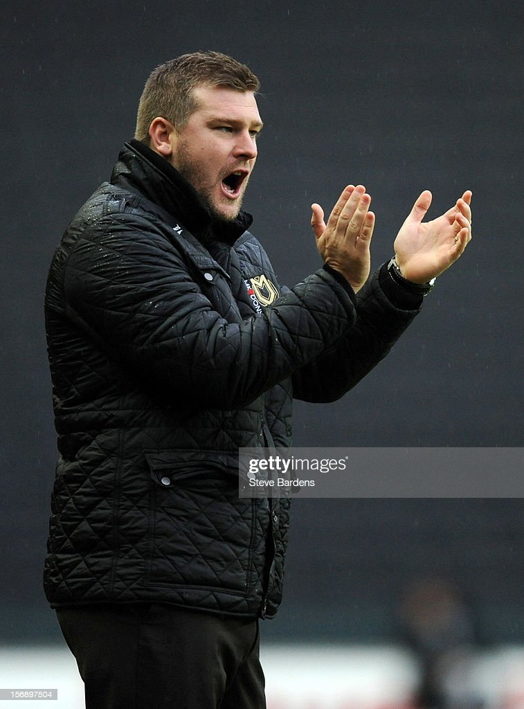 The MK Dons manager Karl Robinson during the npower League One match between MK Dons and Colchester United at Stadium MK on November 24, 2012 in Milton Keynes, England.