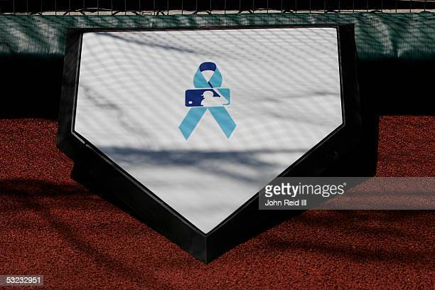 The MLB logo and a blue ribbon are pictured on home plate before the game between the Cleveland Indians and the Arizona Diamondbacks at Jacobs Field...