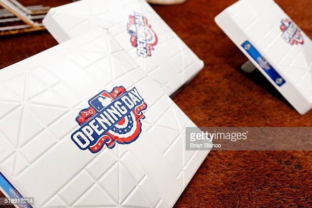 The MLB Opening Day logo appears on bases before the start of the Tampa Bay Rays' Opening Day game against the Toronto Blue Jays on April 3 2016 at...