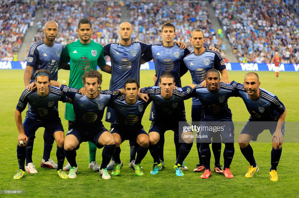 The MLS All-Stars pose prior to the start of the 2013 Major League Soccer All Star Game against AS Roma at Sporting Park on July 31, 2013 in Kansas City, Kansas.