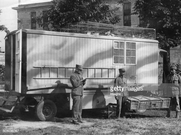 The mobile carrier pigeons station of the Austrian army Meidlinger barracks Vice Lieutenant Heinrich Gloß August 1936 Photograph
