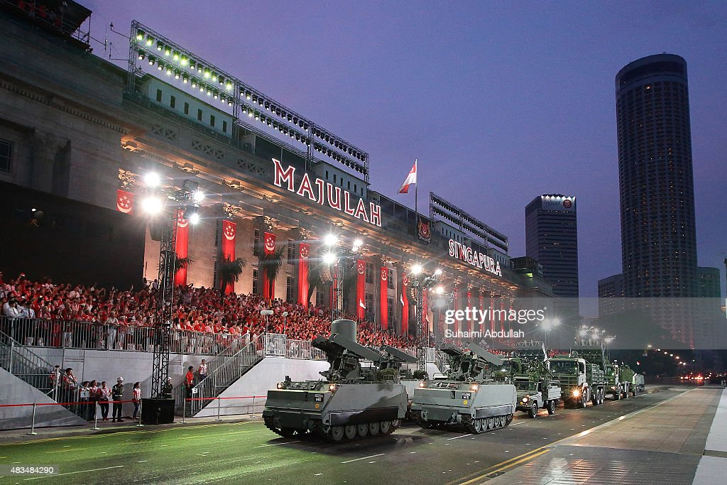 The mobile column display roll past in front of City Hall during the National Day Parade at Padang on August 9, 2015 in Singapore. Singapore is celebrating her 50th year of independence on August 9, 2015.