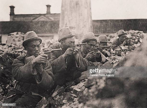 The mobile Mauser pistol section of Marshal Sun Chuanfang's army during the defence of Jiaxing or Kashing against the Communist army during the...